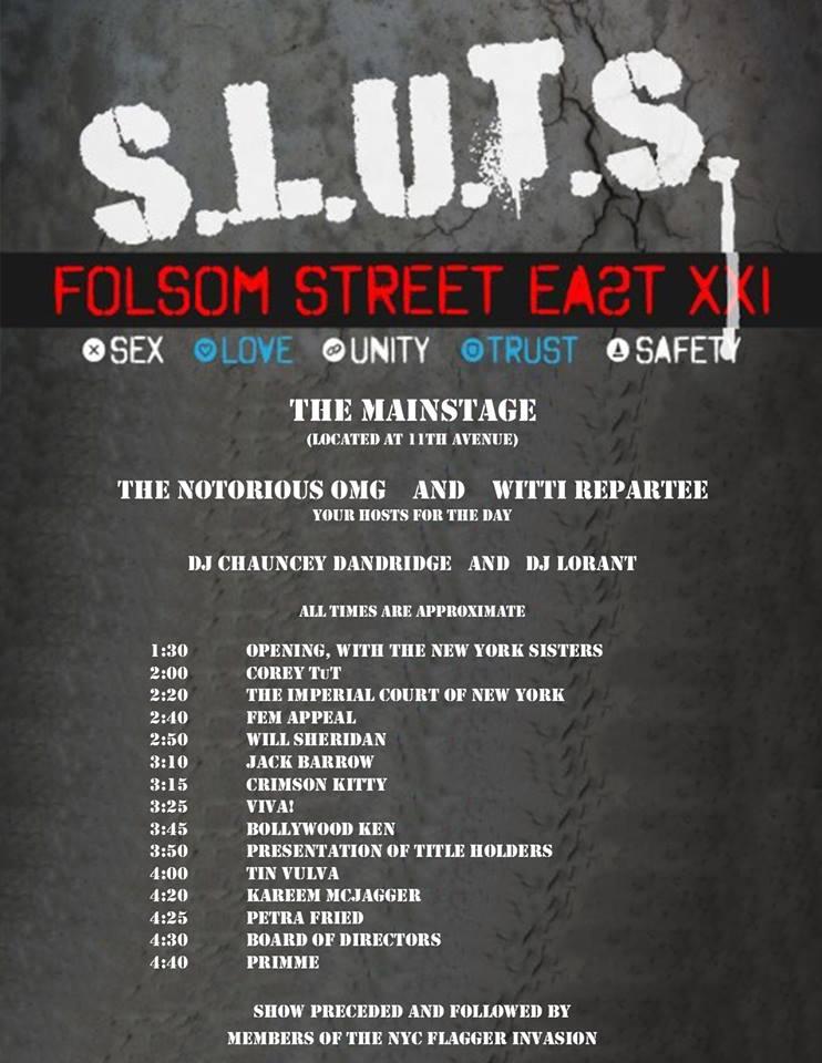Folsom Street East Street Festival XXI: SLUTS. Sunday, June 17, 2018. Manhattan, New York City.