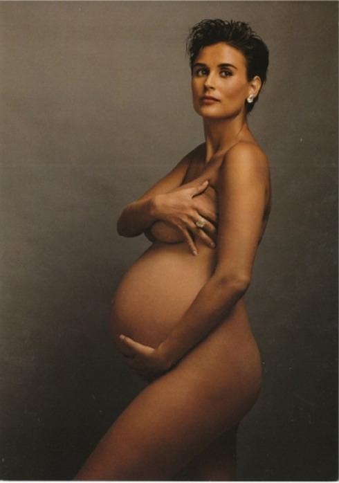 Annie Leibovitz photographed Demi Moore for the cover of Vanity Fair in August, 1991. Photo by Annie Leibovitz.