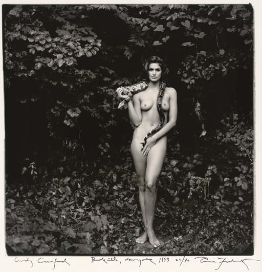 Cindy Crawford is petrified of snakes, but she could not turn down a chance to work with photographer Annie Leibovitz. Photo by Annie Leibovitz.