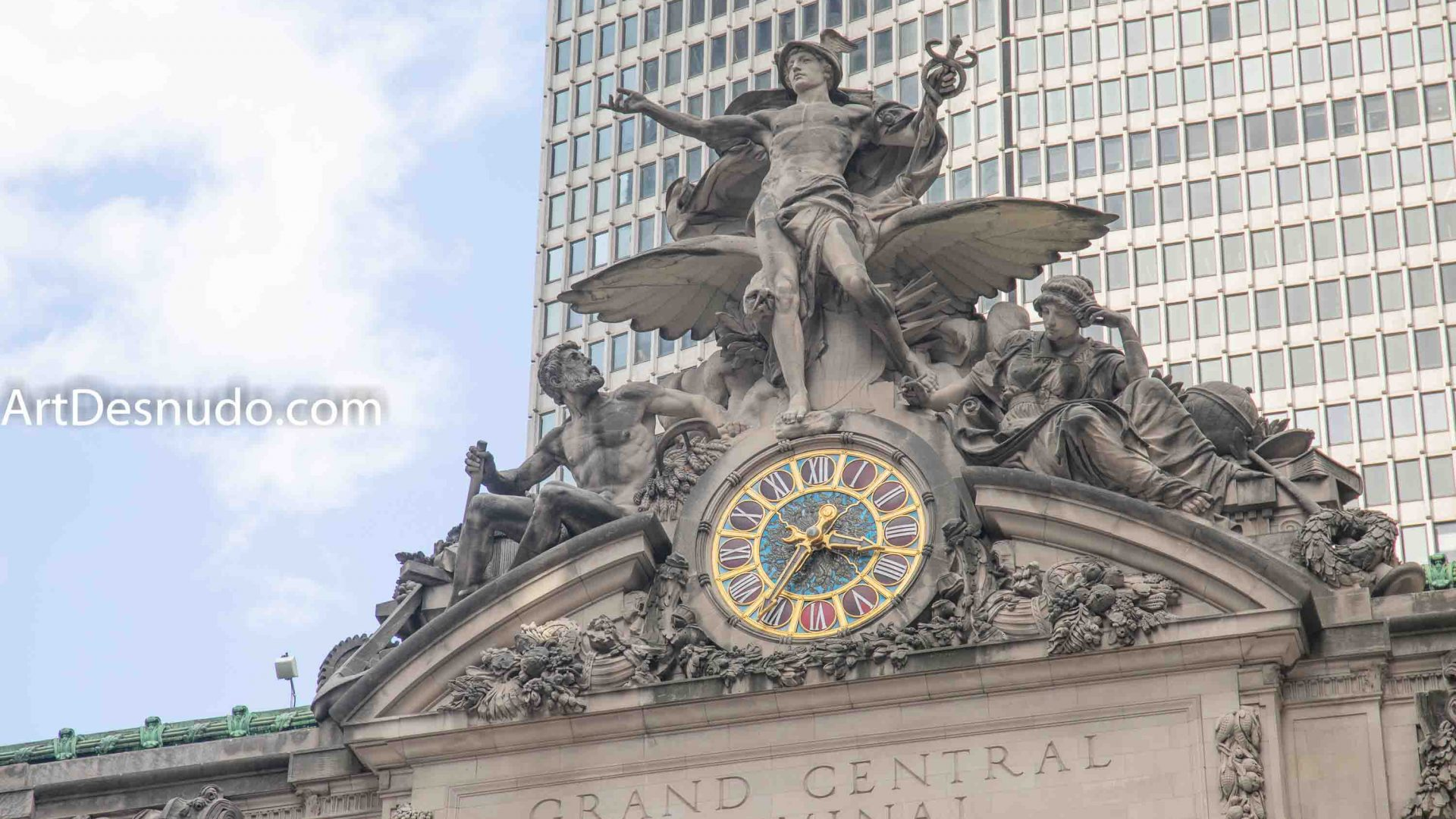 Saturday, September 7, 2019 - The Glory of Commerce sculpture. The work includes representations of Hercules, Mercury and Minerva. Mercury is nude and he is standing at the top center of the work. Grand Central Terminal. New York City.