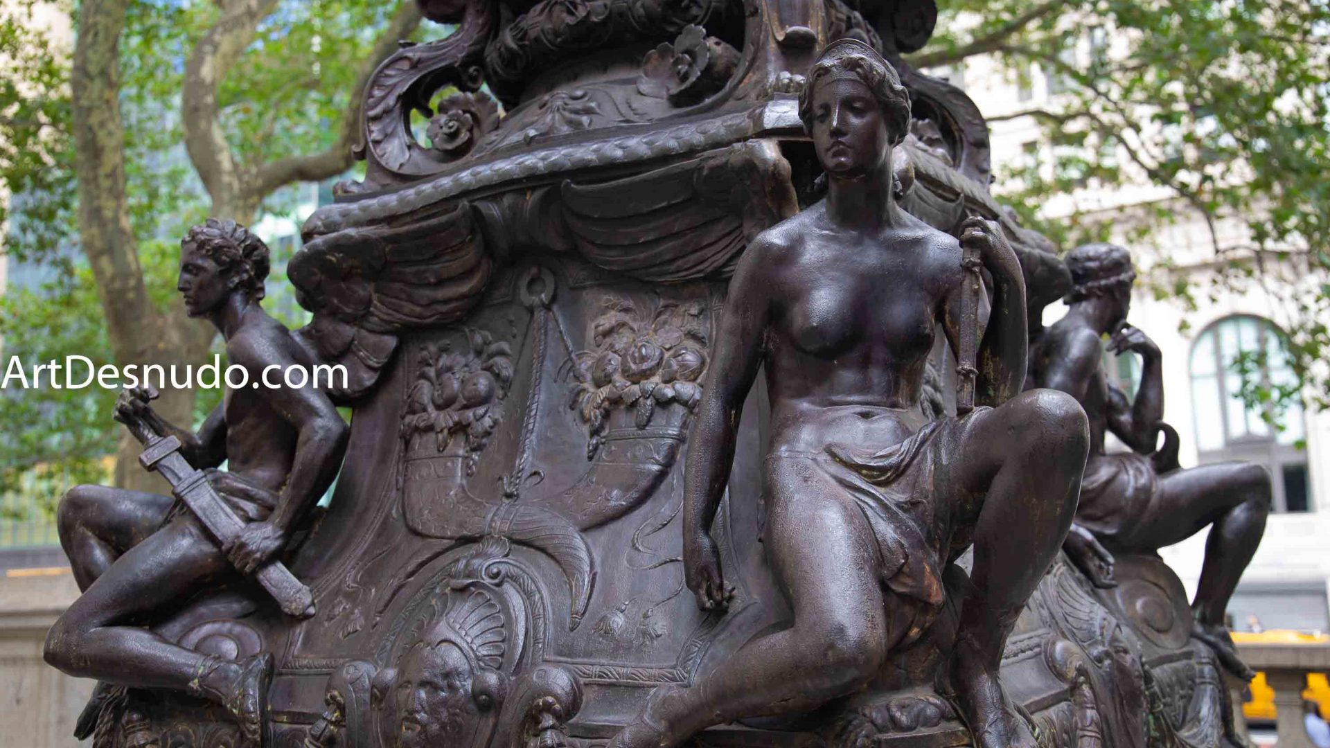 Saturday, September 7, 2019 - Female and male nude sculptures sculpted by Raffaele Menconi and cast at Tiffany Studios. New York Public Library Main Branch. Manhattan, New York City.