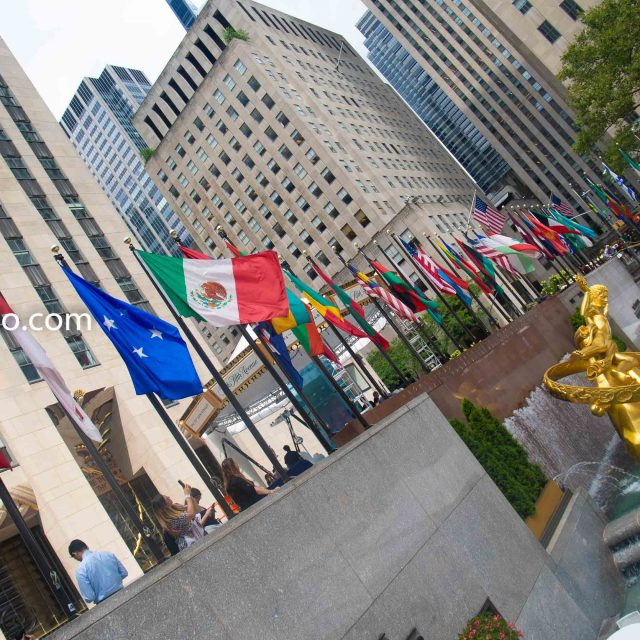Wednesday, September 4, 2019 - Prometheus and flags from different countries. Rockefeller Center. Manhattan, New York City.