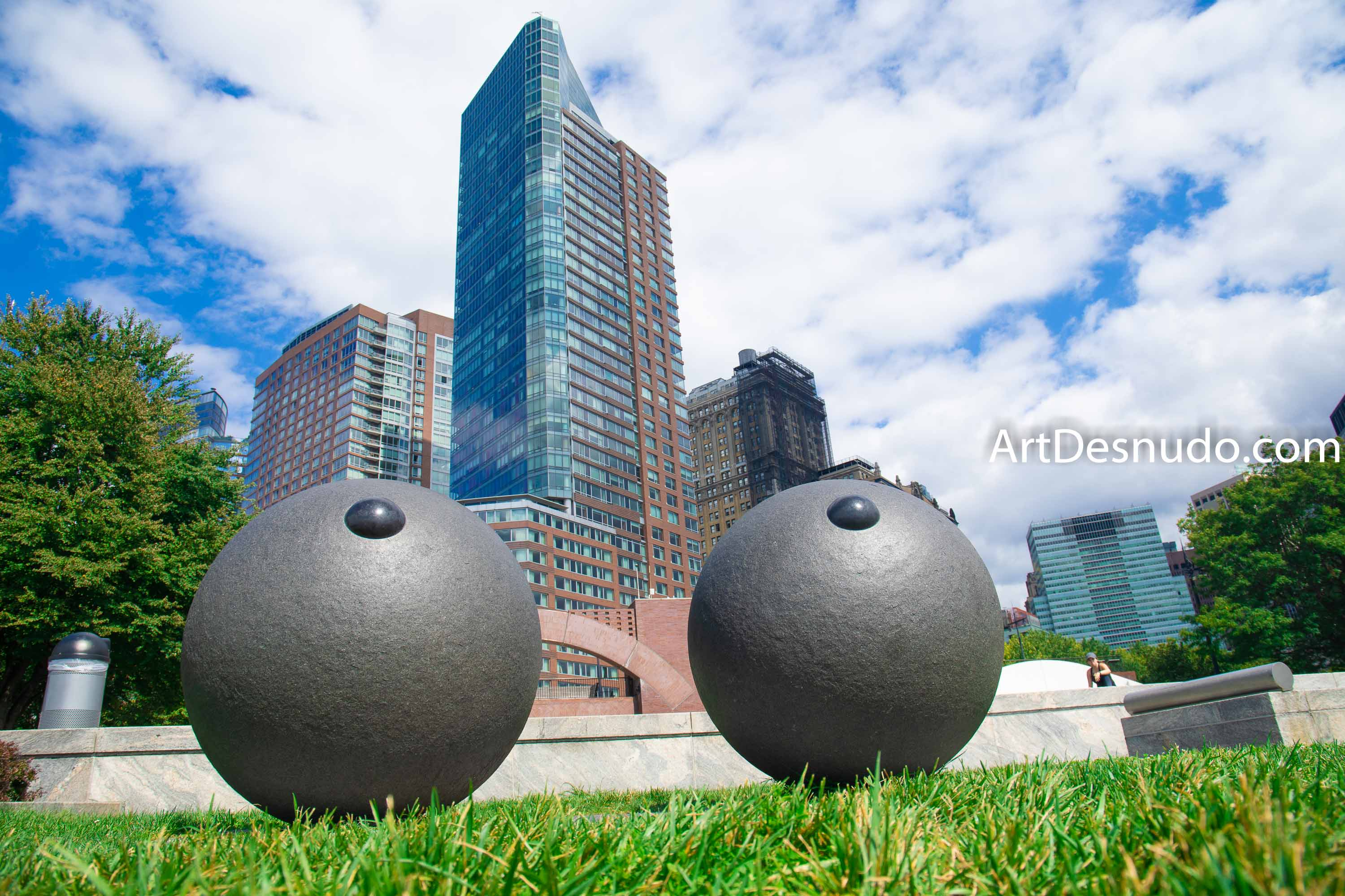 Saturday, September 7, 2019 - Sculpture EYES by Louise Bourgeois at Battery Park City. Manhattan, New York City.